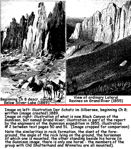 Image comparison between Karl May's illustration of the canyon below Silver-Lake, and the rock formation in the vicinity of the Black Canyon of Gunnison in the report to the US Government, 1855.