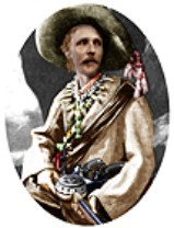 Karl May in Old Shatterhand costume: rosette created from coloured costume photo (b/w) 1896