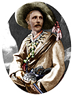 Karl May in Old Shatterhand costume; rosette created from coloured costume photo of 1896.