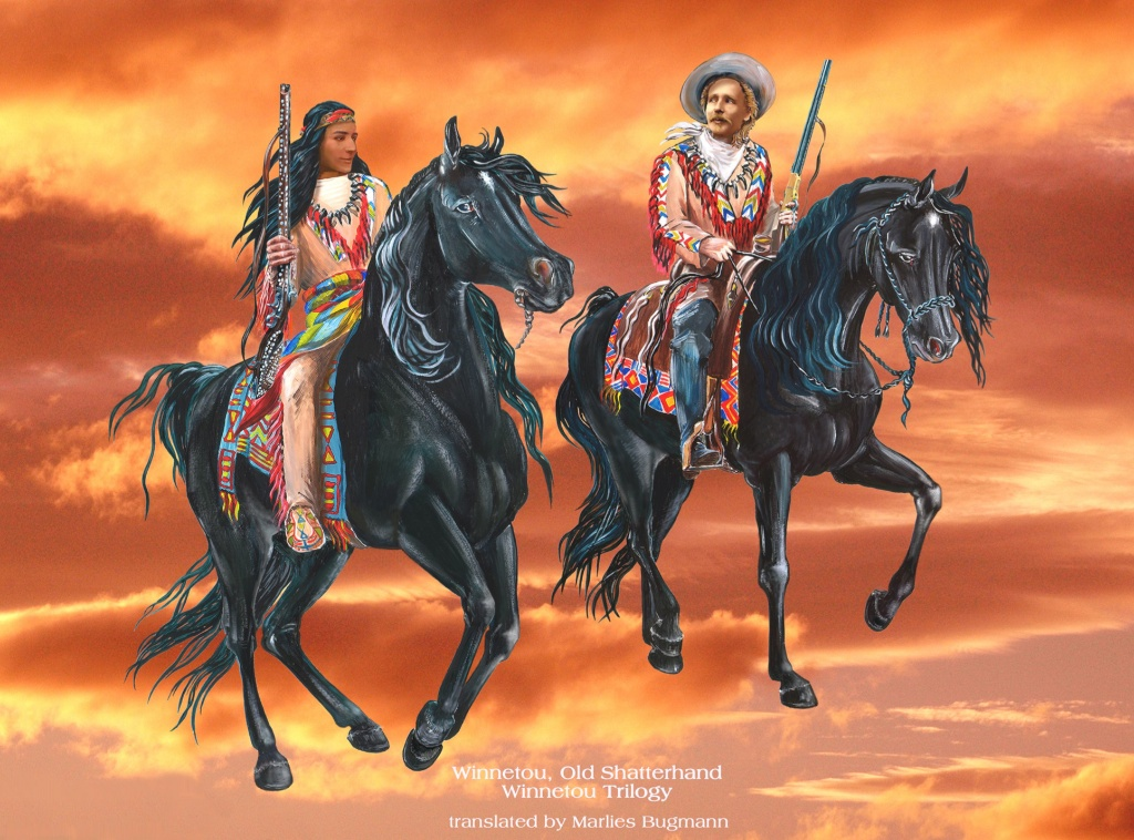 Winnetou and Old Shatterhand 'rider in the sky' design for the Complete Winnetou Trilogy hard cover